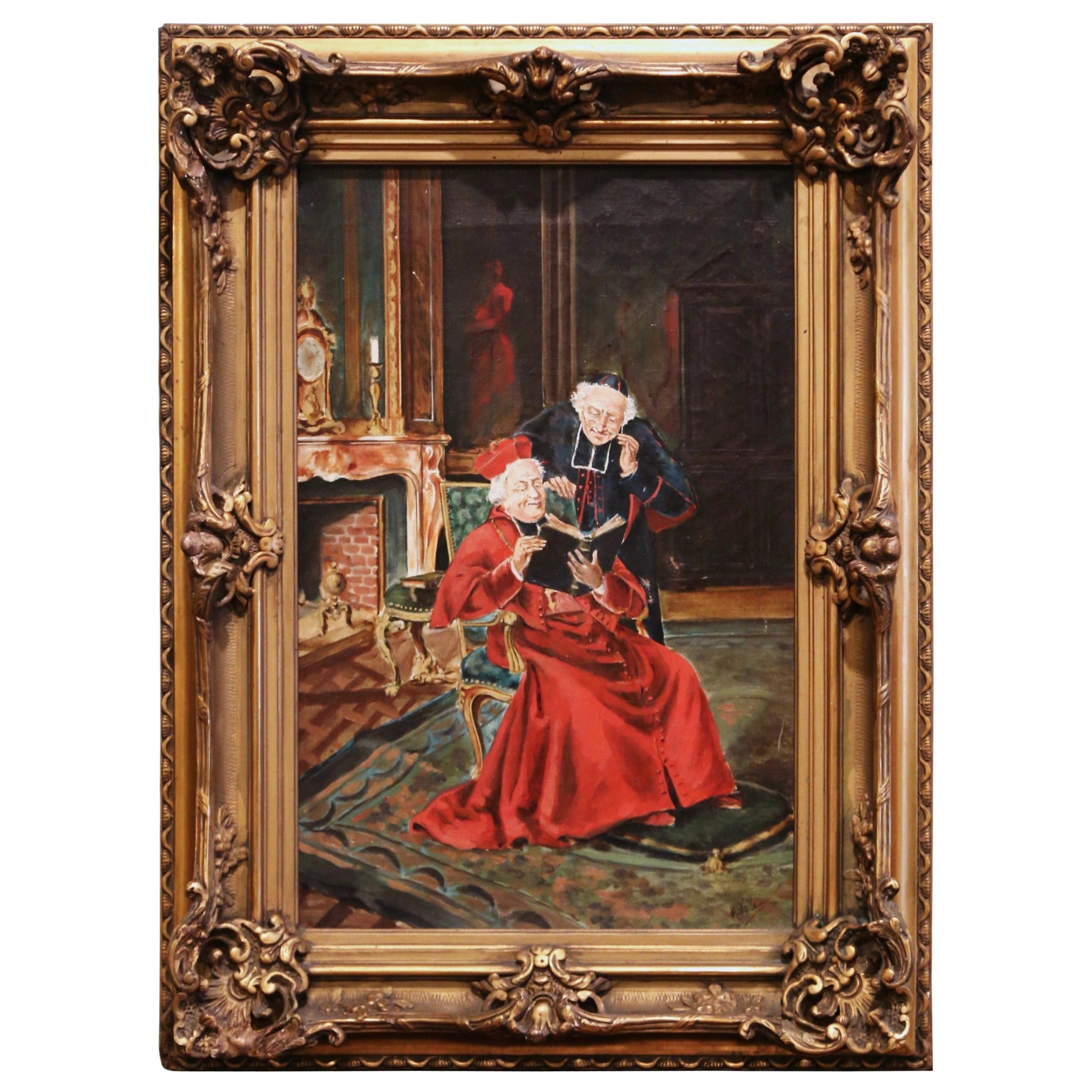 19th Century French Priest Oil Painting in Carved Giltwood Frame Signed M. Valle
