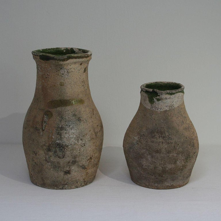 French Provincial 19th Century French Primitive Glazed Earthenware Pitchers For Sale