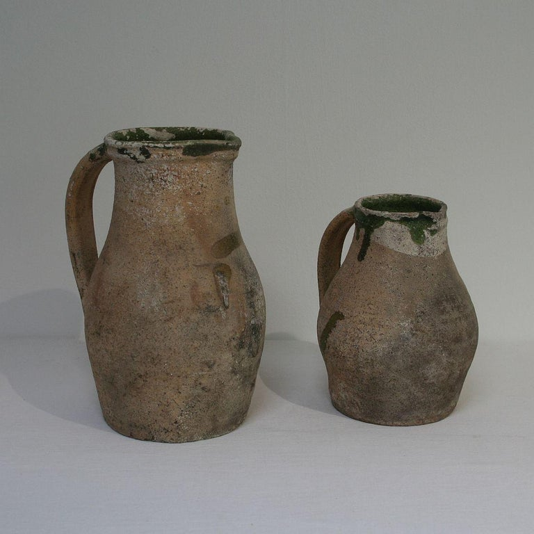 Hand-Crafted 19th Century French Primitive Glazed Earthenware Pitchers For Sale