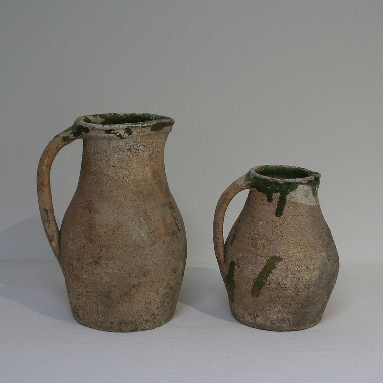 19th Century French Primitive Glazed Earthenware Pitchers In Good Condition For Sale In Amsterdam, NL