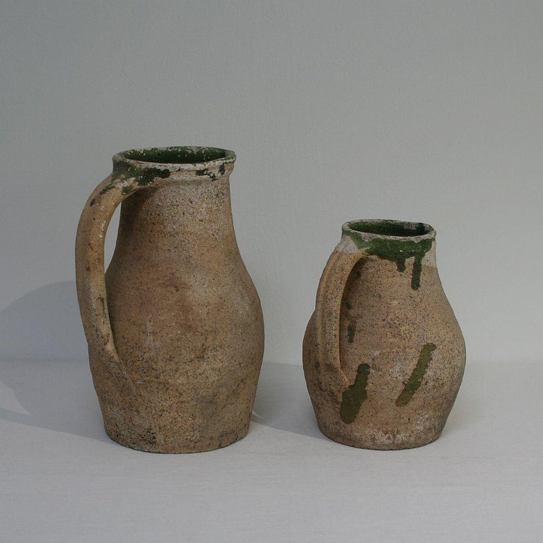 19th Century French Primitive Glazed Earthenware Pitchers For Sale 1