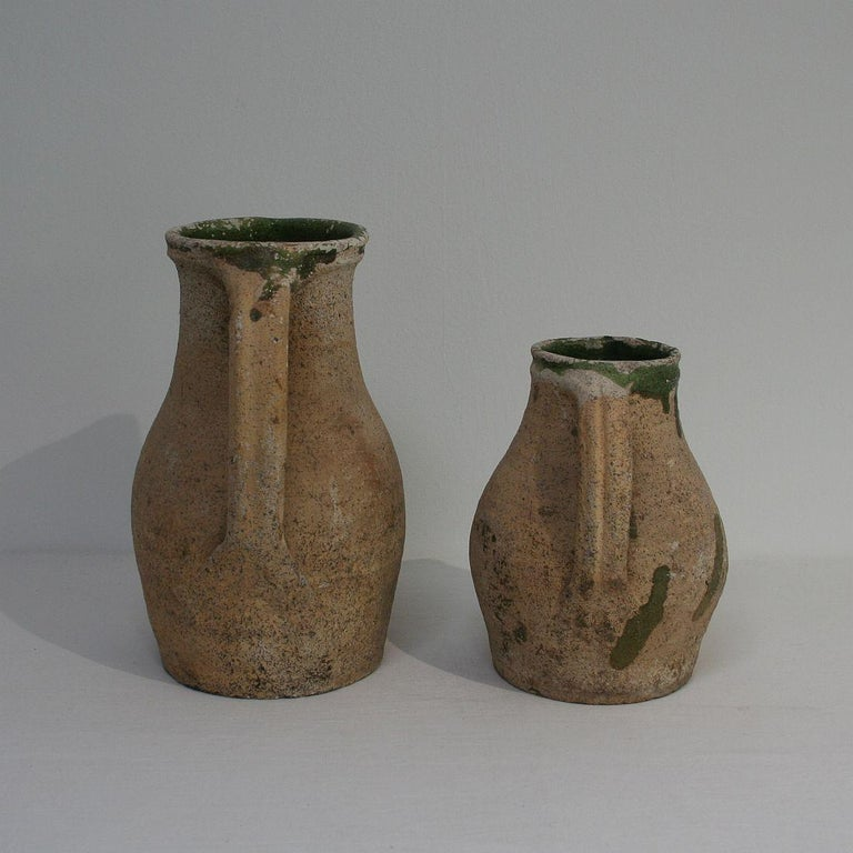 19th Century French Primitive Glazed Earthenware Pitchers For Sale 2