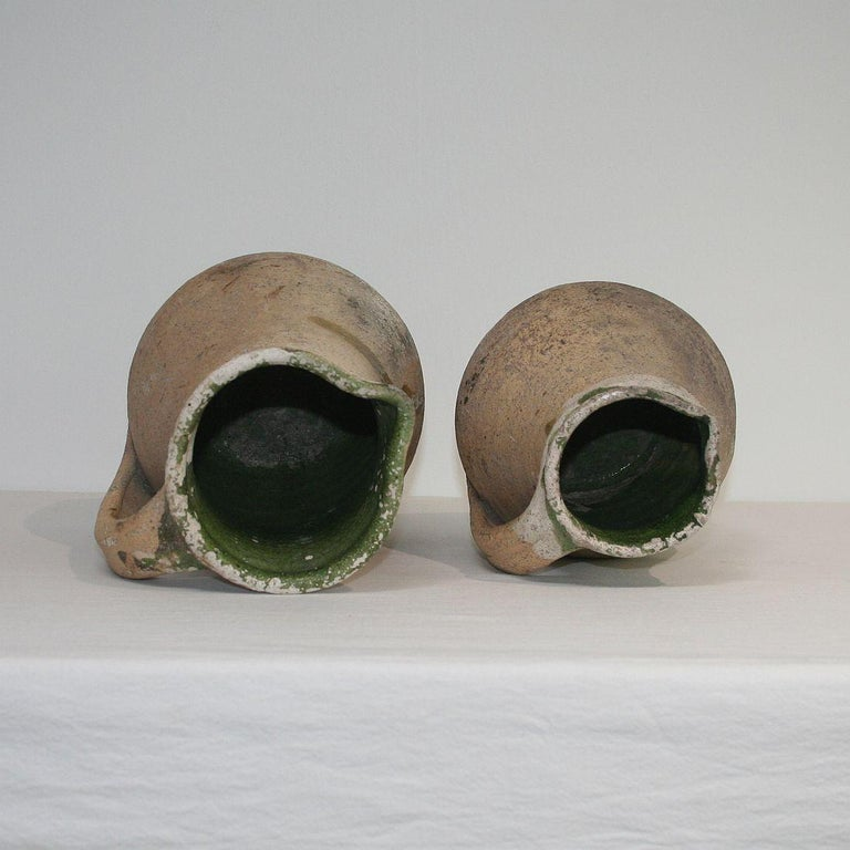 19th Century French Primitive Glazed Earthenware Pitchers For Sale 3