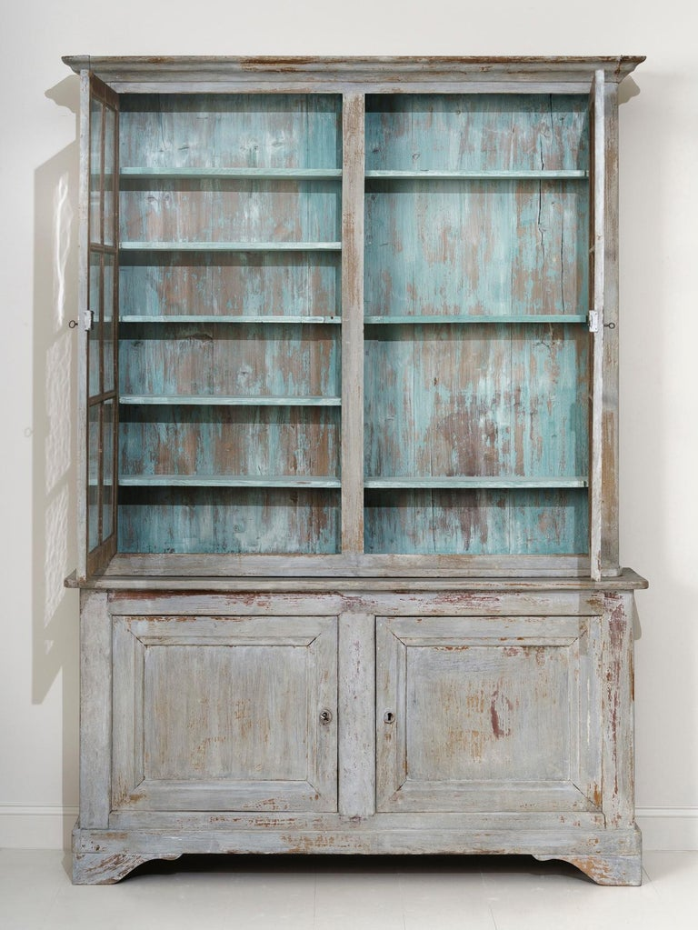 19th Century French Provençal Louis Philippe Style Painted Buffet Deux Corps For Sale 10