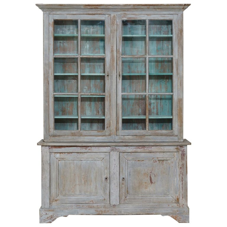 19th Century French Provençal Louis Philippe Style Painted Buffet Deux Corps For Sale