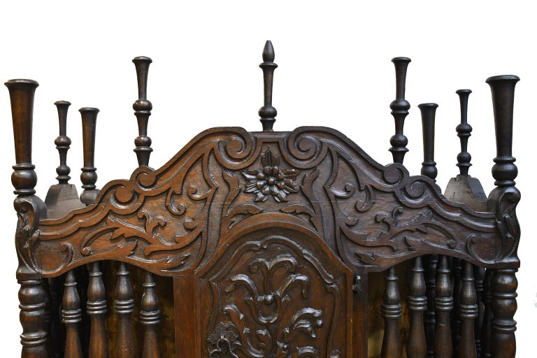 19th Century French Provencal Panetière Bread Cupboard in Carved Chestnut For Sale 4