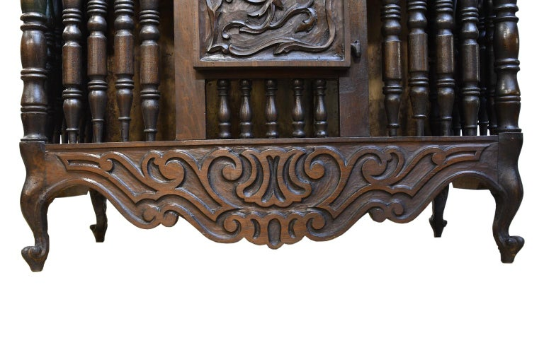 19th Century French Provencal Panetière Bread Cupboard in Carved Chestnut For Sale 7