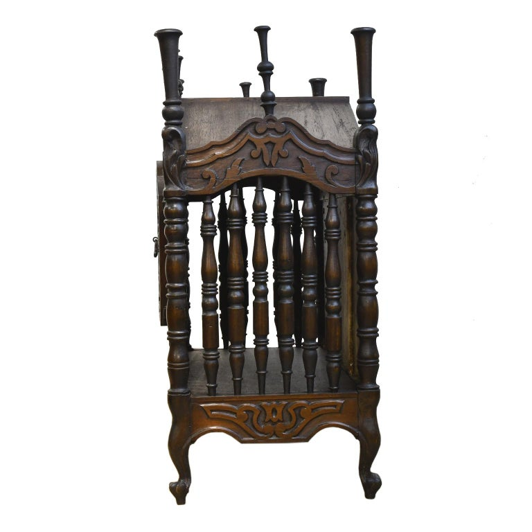 French Provincial 19th Century French Provencal Panetière Bread Cupboard in Carved Chestnut For Sale
