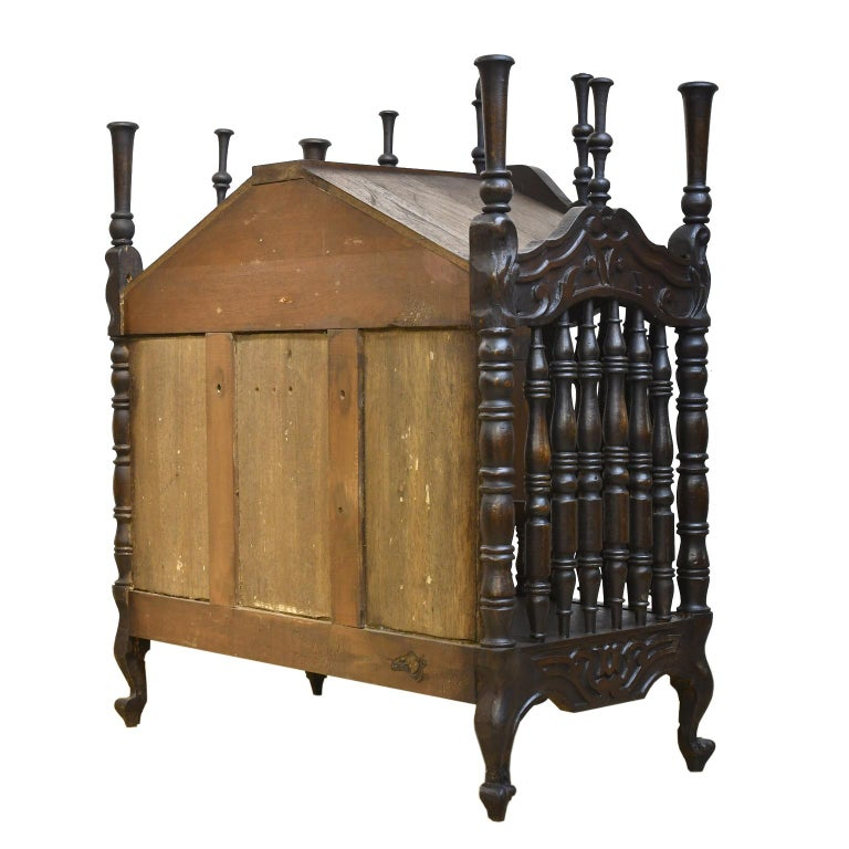 Iron 19th Century French Provencal Panetière Bread Cupboard in Carved Chestnut For Sale