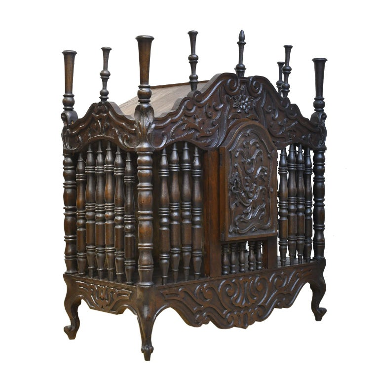 19th Century French Provencal Panetière Bread Cupboard in Carved Chestnut For Sale 2