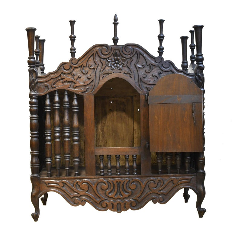 19th Century French Provencal Panetière Bread Cupboard in Carved Chestnut For Sale 3