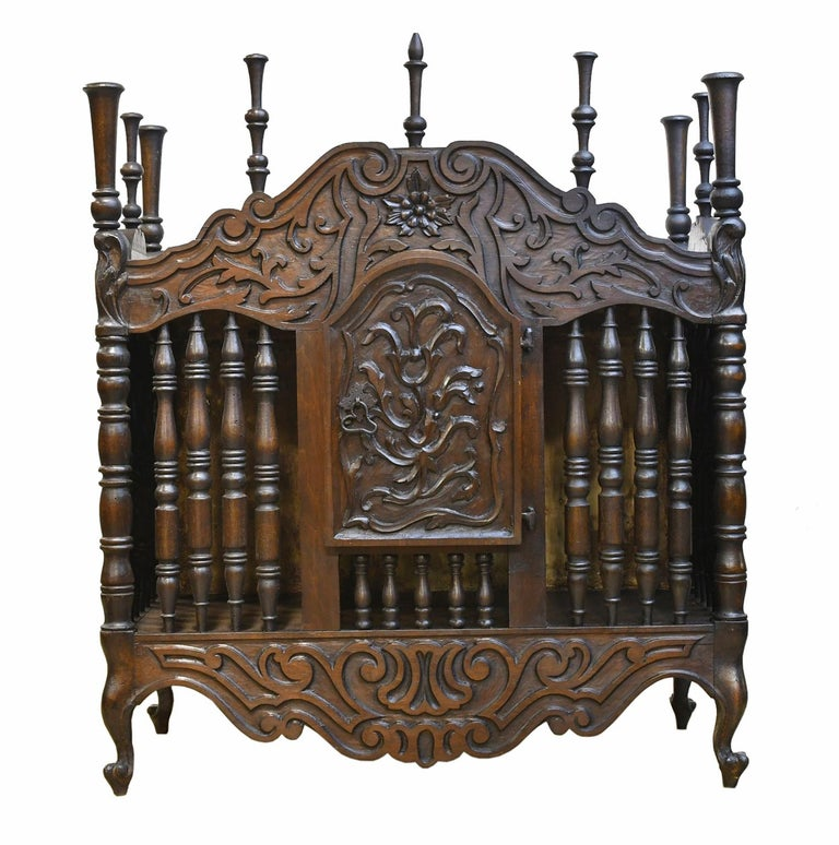 19th Century French Provencal Panetière Bread Cupboard in Carved Chestnut For Sale