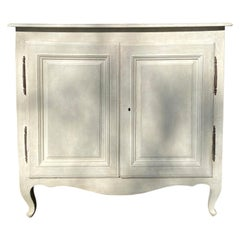 19th Century French Provincial Carved Fruitwood Cabinet, Custom Finish