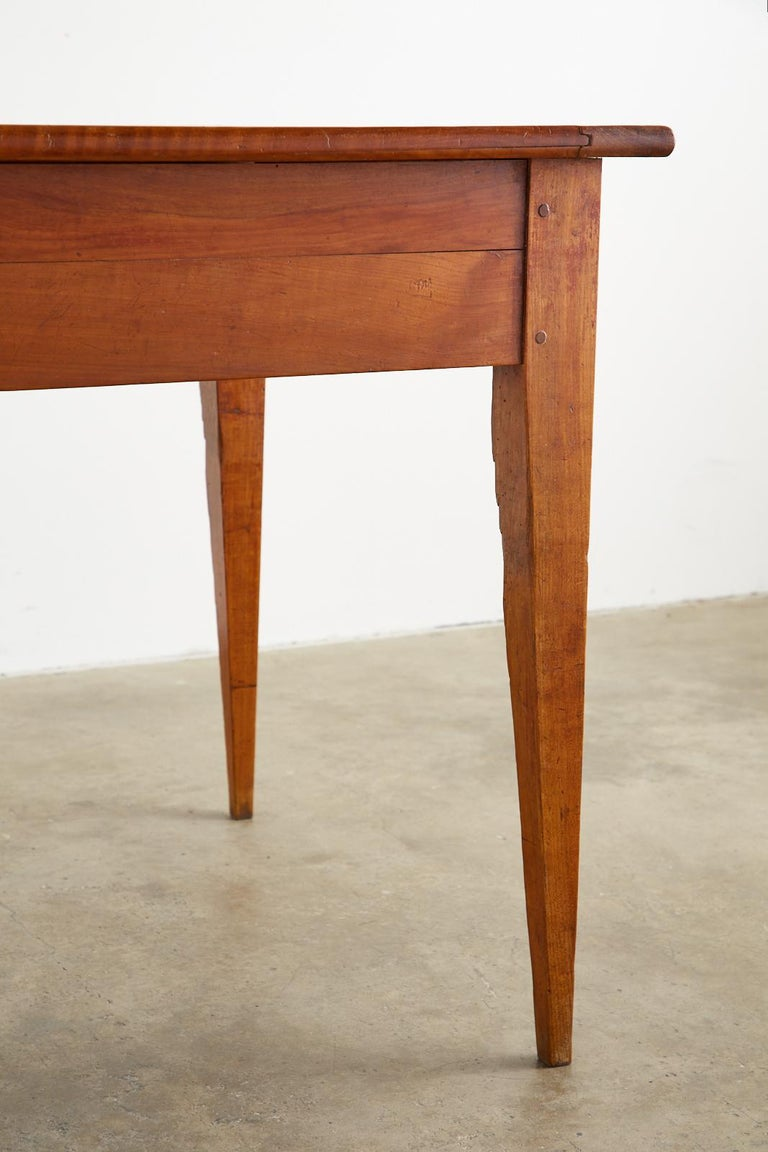 19th Century French Provincial Farmhouse Fruitwood Dining Table For Sale 7