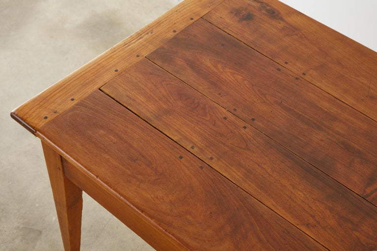 19th Century French Provincial Farmhouse Fruitwood Dining Table For Sale 10