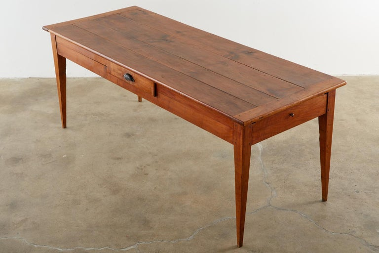19th Century French Provincial Farmhouse Fruitwood Dining Table In Good Condition For Sale In Rio Vista, CA