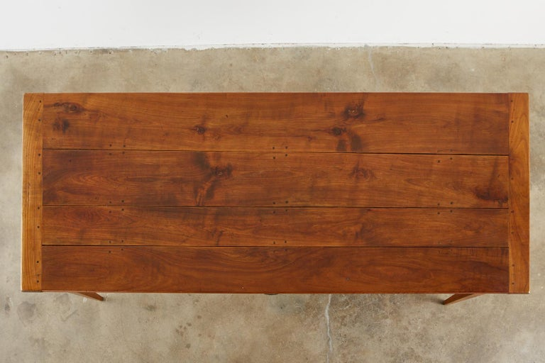 19th Century French Provincial Farmhouse Fruitwood Dining Table For Sale 1