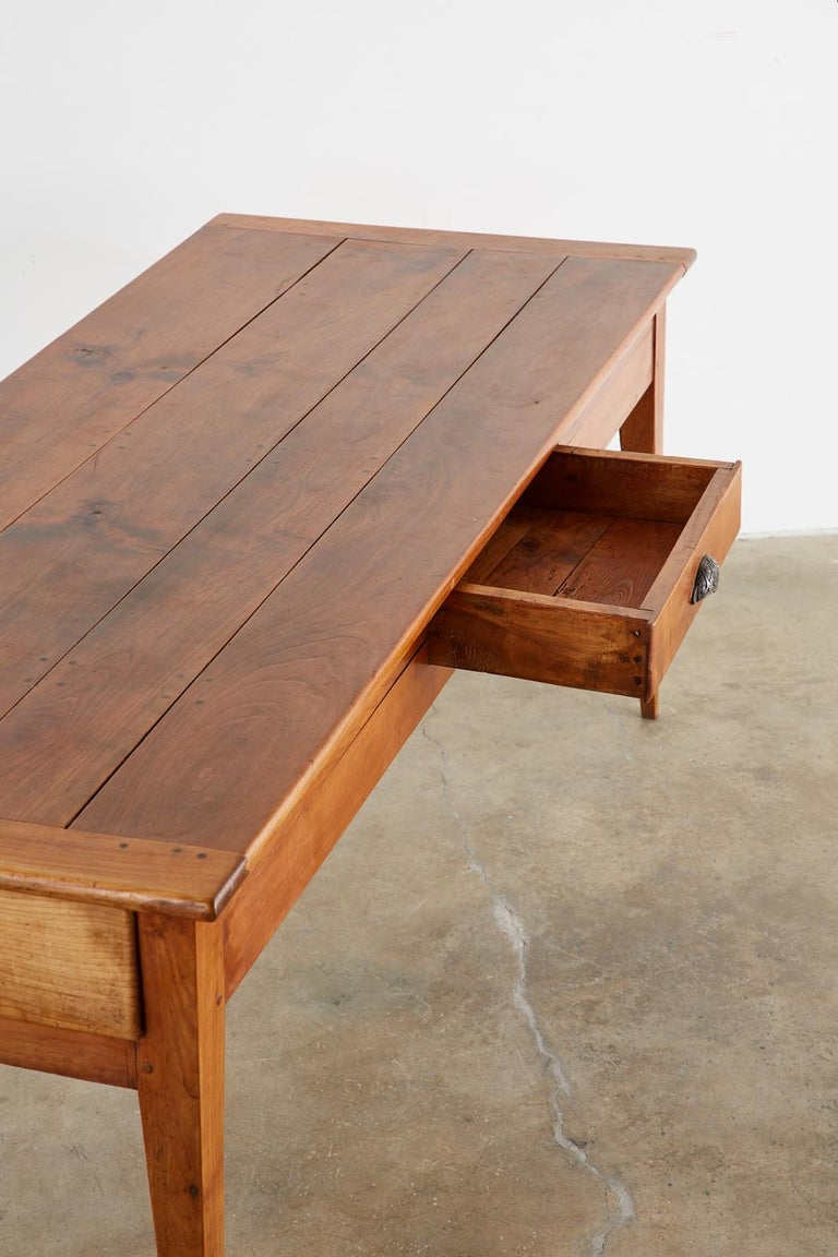 19th Century French Provincial Farmhouse Fruitwood Dining Table For Sale 2