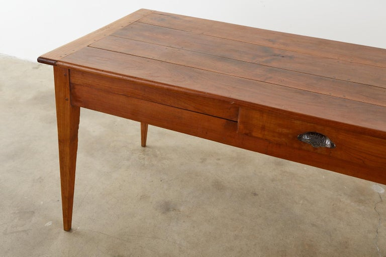 19th Century French Provincial Farmhouse Fruitwood Dining Table For Sale 3