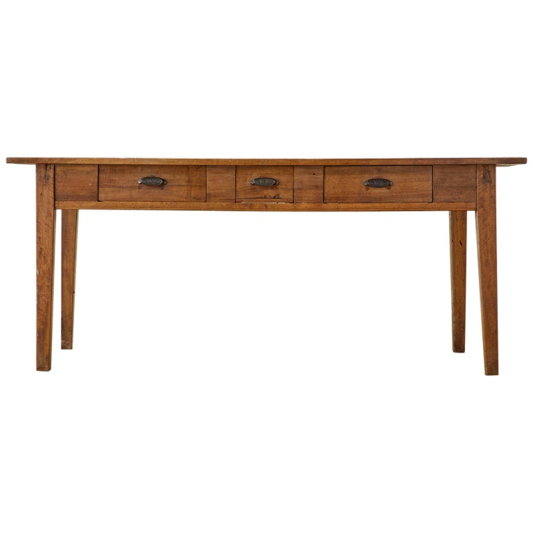 19th Century French Provincial Farmhouse Fruitwood Dining Table For Sale