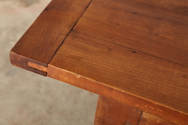 19th Century French Provincial Farmhouse Fruitwood Trestle Table For Sale 8