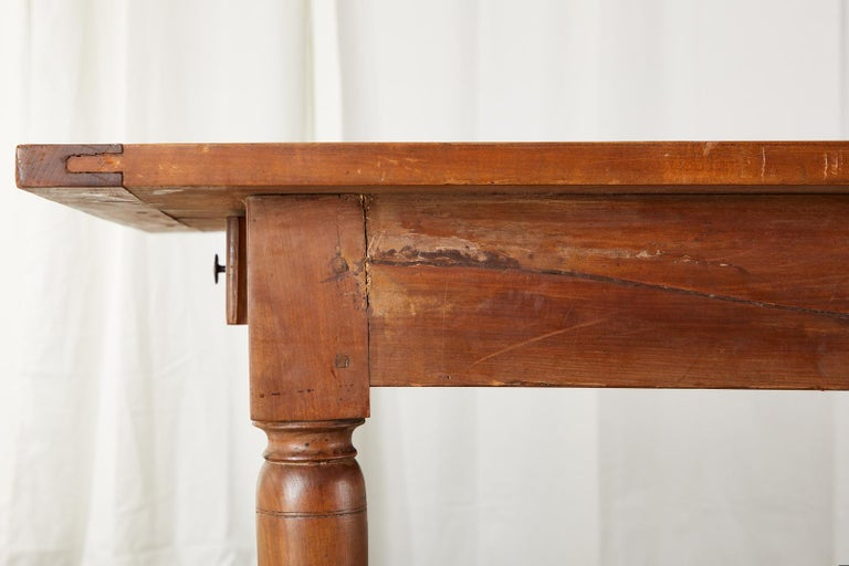 19th Century French Provincial Farmhouse Fruitwood Trestle Table For Sale 10