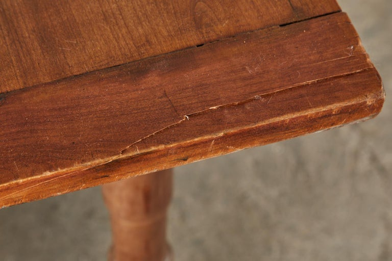 19th Century French Provincial Farmhouse Fruitwood Trestle Table For Sale 13