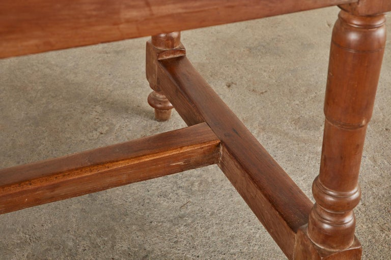 19th Century French Provincial Farmhouse Fruitwood Trestle Table For Sale 15