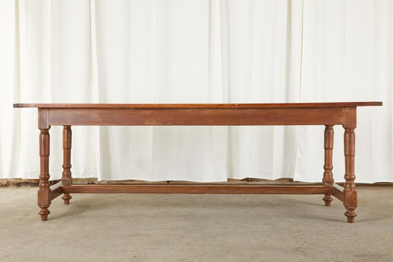 19th Century French Provincial Farmhouse Fruitwood Trestle Table For Sale 16