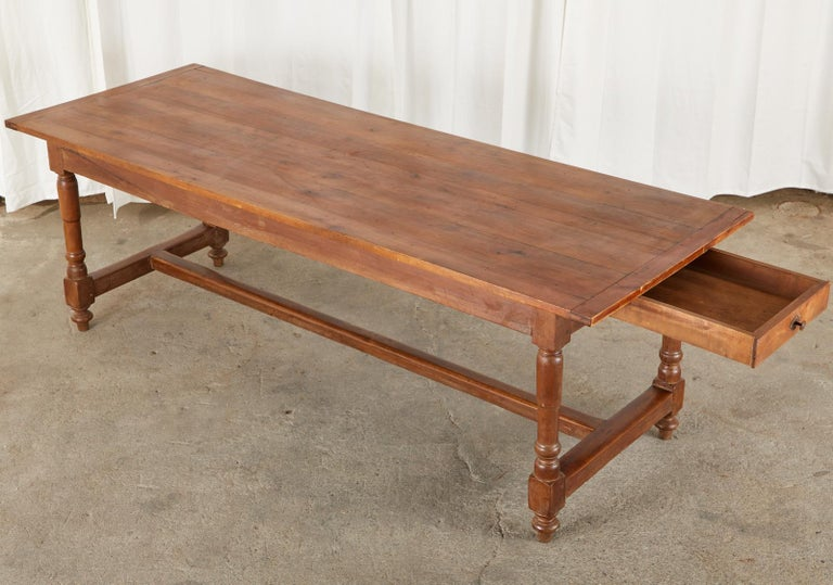 19th Century French Provincial Farmhouse Fruitwood Trestle Table In Good Condition For Sale In Rio Vista, CA