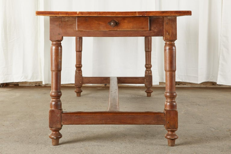 19th Century French Provincial Farmhouse Fruitwood Trestle Table For Sale 1