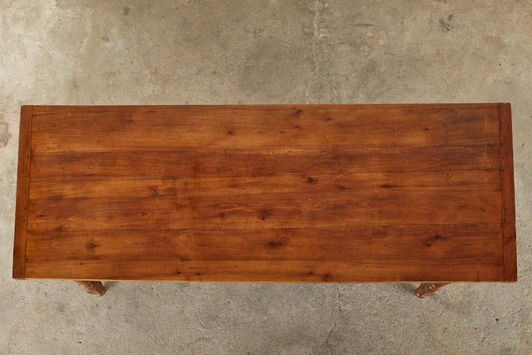 19th Century French Provincial Farmhouse Fruitwood Trestle Table For Sale 2
