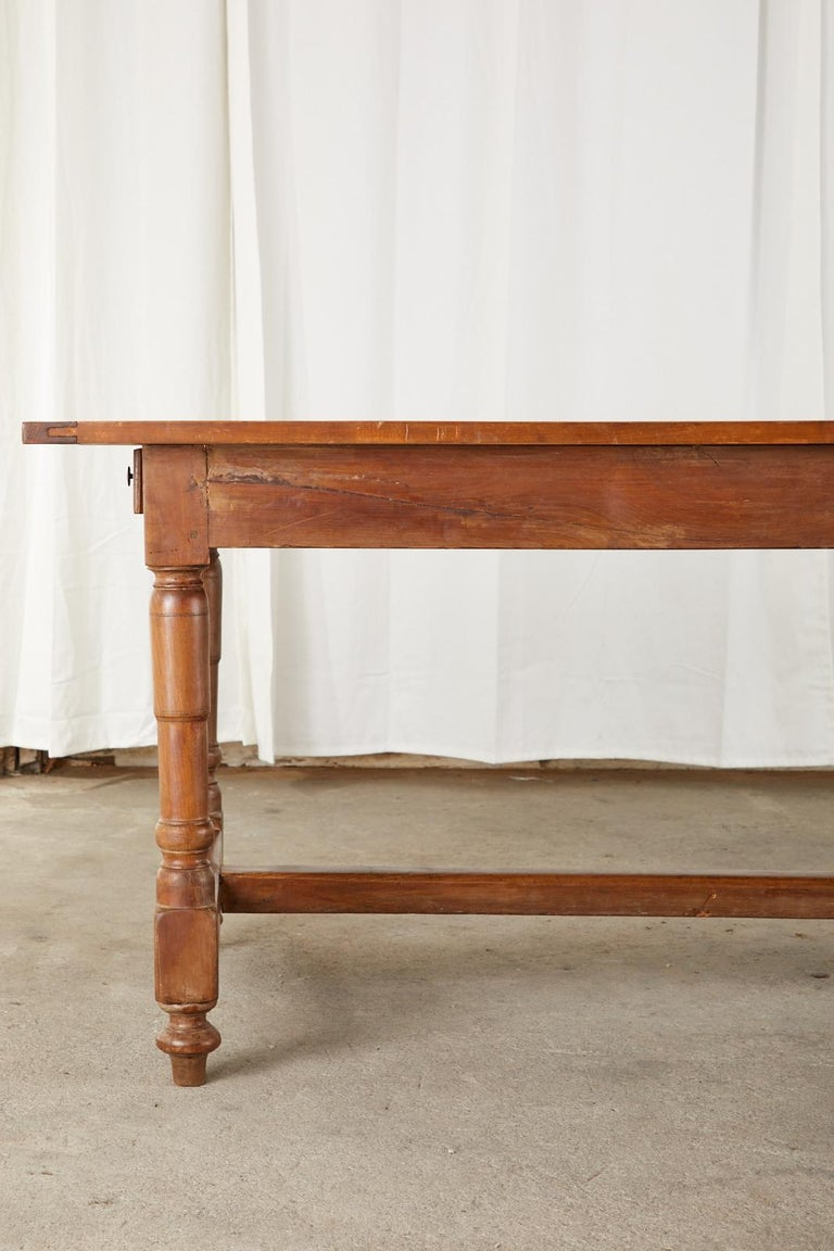 19th Century French Provincial Farmhouse Fruitwood Trestle Table For Sale 3