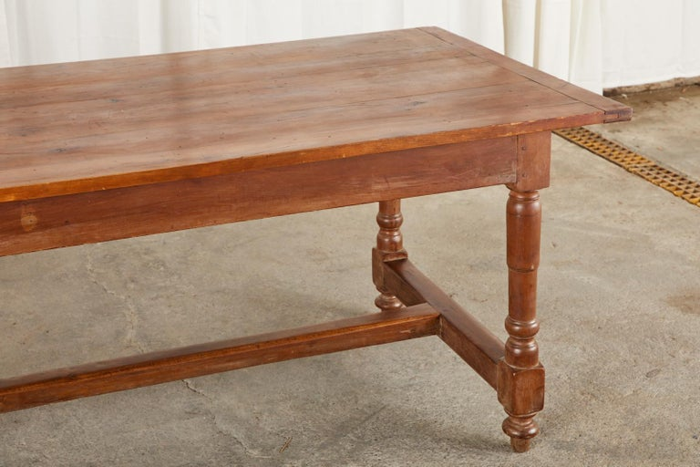 19th Century French Provincial Farmhouse Fruitwood Trestle Table For Sale 5