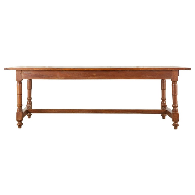 19th Century French Provincial Farmhouse Fruitwood Trestle Table For Sale