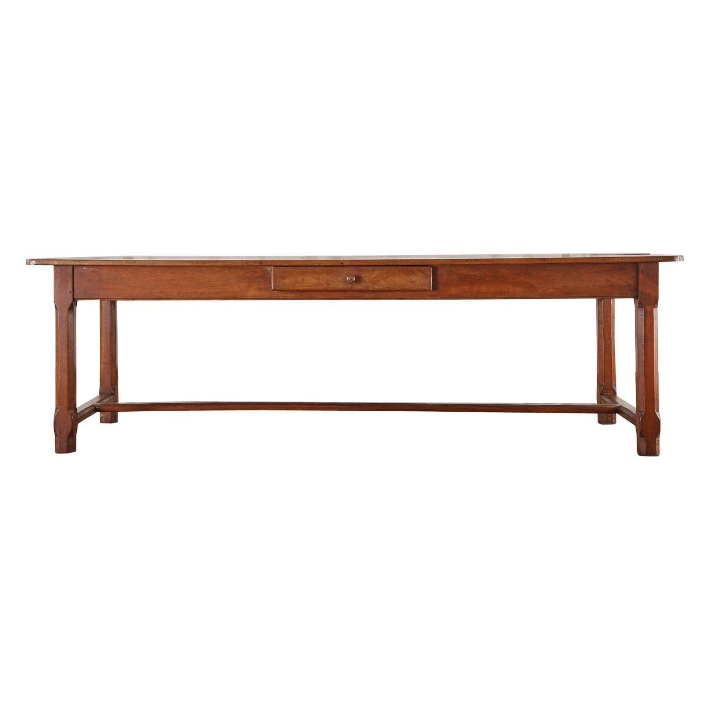 19th Century French Provincial Fruitwood Farmhouse Dining Table
