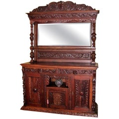 19th Century French Provincial Highly Carved Oak Dining Buffet