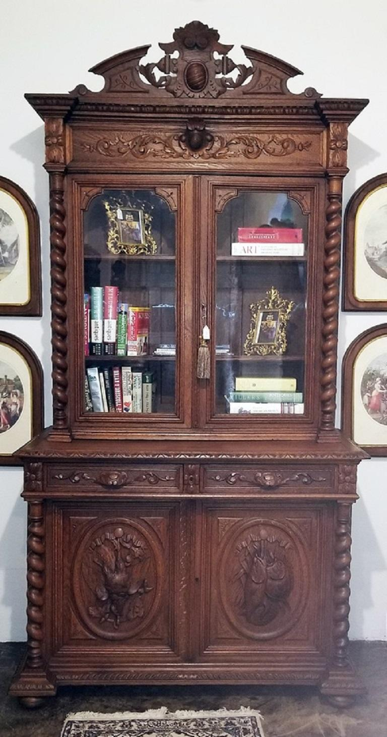 Absolutely gorgeous and imposing French provincial oak bookcase from circa 1840.