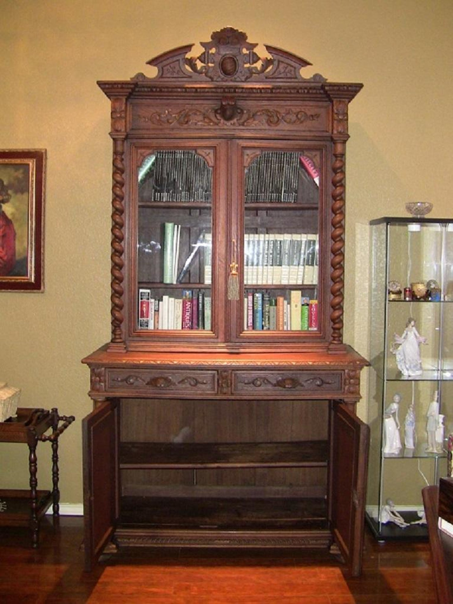 19th Century French Provincial Highly Carved Oak Hunt Bookcase
