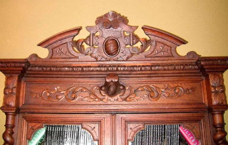 19th Century French Provincial Highly Carved Oak Hunt Bookcase For Sale 1