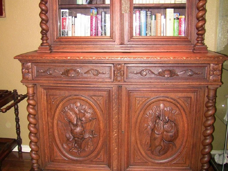 19th Century French Provincial Highly Carved Oak Hunt Bookcase For Sale 2