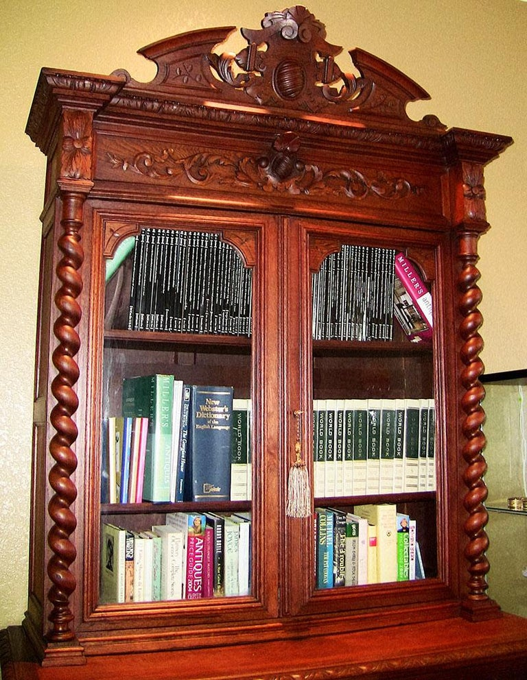 19th Century French Provincial Highly Carved Oak Hunt Bookcase For Sale 3