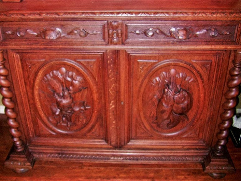 19th Century French Provincial Highly Carved Oak Hunt Bookcase For Sale 4