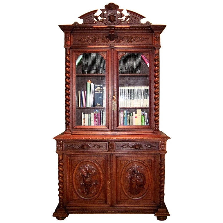 19th Century French Provincial Highly Carved Oak Hunt Bookcase For Sale