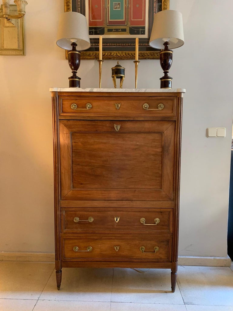 19th Century French Provincial Louis XVI Style Secretaire For Sale 15