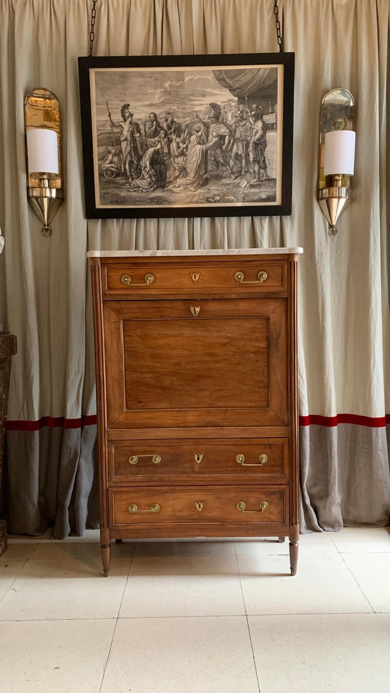 Marble 19th Century French Provincial Louis XVI Style Secretaire For Sale