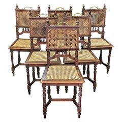 19th Century French Provincial Oak Cane Dining Chairs