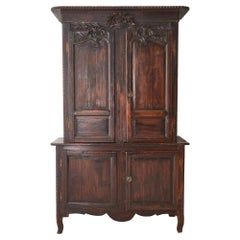 19th Century French Provincial Oak Deux Corps Cabinet