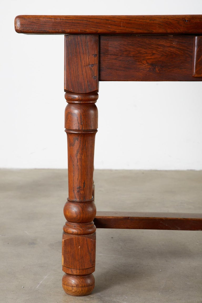 19th Century French Provincial Oak Trestle Farmhouse Dining Table For Sale 5
