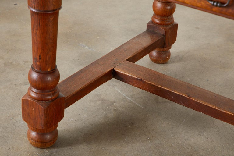 19th Century French Provincial Oak Trestle Farmhouse Dining Table For Sale 7